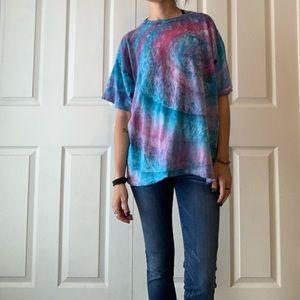 VTG 80s Ocean Blue tie dye shirt